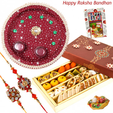 Enticing Combo - Kaju Mix, Puja Thali (M) with 2 Rakhi and Roli-Chawal