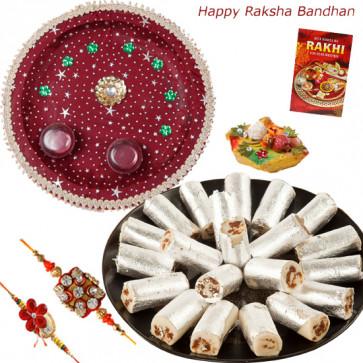 Kaju Anjir Rolls Thali - Kaju Anjir Rolls, Puja Thali (M), 5 Dairy Milk with 2 Rakhi and Roli-Chawal