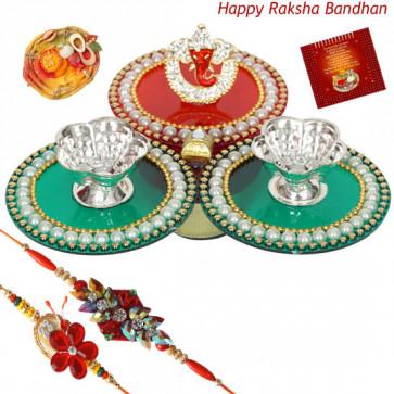 Ganesha Thali - Auspicious Ganesha Thali with 2 Rakhi and Roli-Chawal