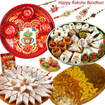 "Royal Treat - Kaju Katli 500 gms, Kaju Mix 500 gms, Assorted Dryfruit Basket 500 gms, Meenakari Thali 6"" with Set of 5 Rakhis(1 Sandalwood, 1 Auspicious, 1 Pearl, 1 Rudraksha Rakhi and 1 Lumba Rakhi) and Roli-Chawal"