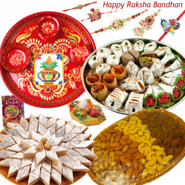 "Royal Treat - Kaju Katli 500 gms, Kaju Mix 500 gms, Assorted Dryfruit Basket 500 gms, Meenakari Thali 6"" with Set of 5 Rakhis(1 Sandalwood, 1 Auspicious, 1 Pearl, 1 Kids Rakhi and 1 Lumba Rakhi) and Roli-Chawal"