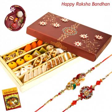 Sweet Regards - Kaju Mix with 2 Rakhi and Roli-Chawal