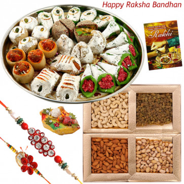 Best Wishes - Kaju Mix, Assorted Dry Fruits 200 gms with 2 Rakhi and Roli-Chawal
