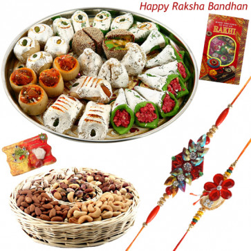 Happy Moments - Kaju Mix, Dry Fruit Basket 200 gms with 2 Rakhi and Roli-Chawal