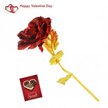 24K Red Golden Rose