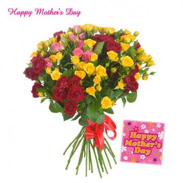 Red and Yellow Flowers - Bouquet of 25 Red and Yellow Roses and Card
