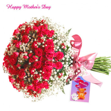 Red Roses Bunch - 50 Red Roses Bunch and Card
