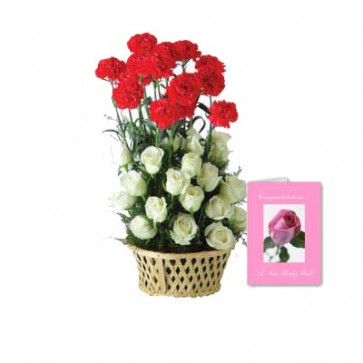 Red & White Carnations - 15 White Roses &15 Red Carnations Basket + Card