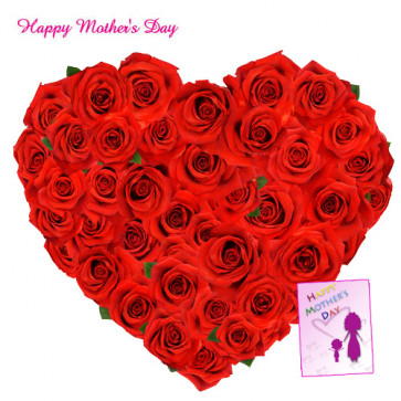 Roses Heart - Heart Shaped Arrangement of 50 Red Roses and Card