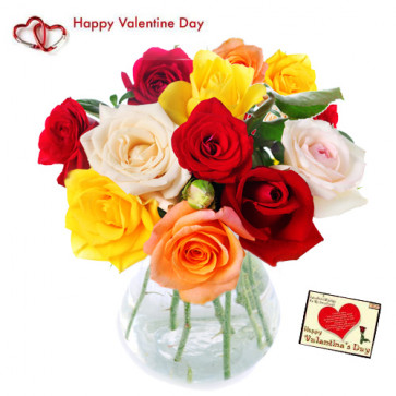 Roses for You - 30 Mix Roses in Vase + Card