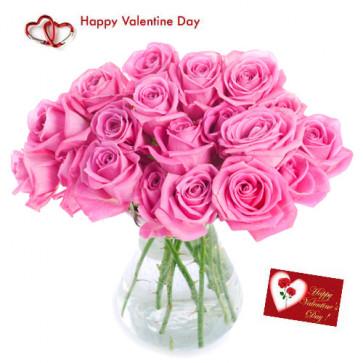 For Love - 15 Pink Roses in Vase + Card