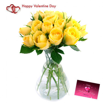 Adorable Gift - 15 Yellow Roses in Vase + Card
