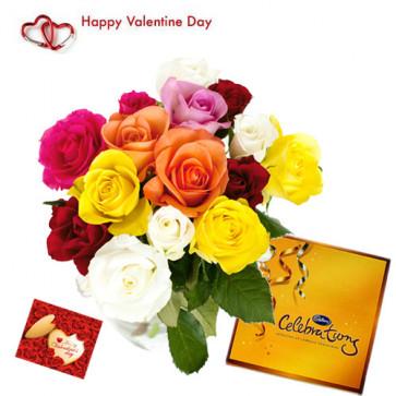 Beautiful Combo - 24 Mix Roses in Vase +Cadbury Celebration + Card