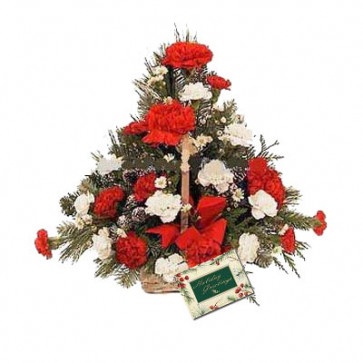 Beautiful Basket - 20 Red & White Carnations Basket + Card