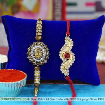 Set of 2 Rakhis - American Diamond Rakhi set