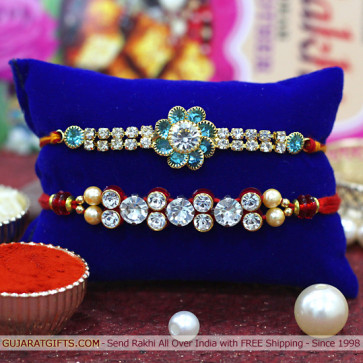 Set of 2 Rakhis - American Diamond with Fancy Rakhi