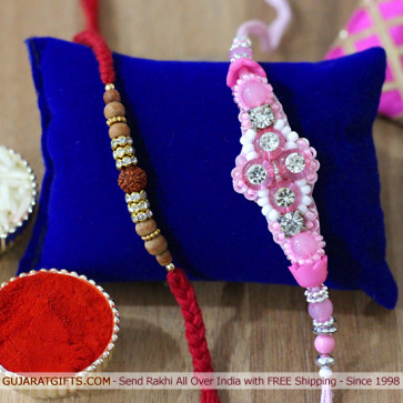 Set of 2 Rakhis - Sandalwood with Fancy Rakhis