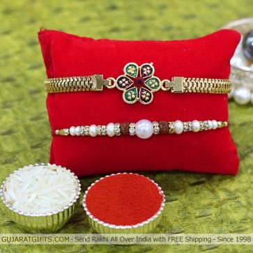 Set of 2 Rakhis - Golden Plated with Pearl Rakhi