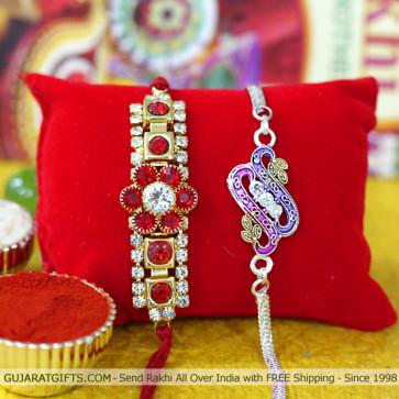 Beautiful Set of 2 Rakhis - Silver Plated with American Diamond Rakhis