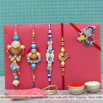 Set of 5 Rakhis - Bhaiya Bhabhi Rakhi Pair with Fancy, Diamond and Kids Rakhi