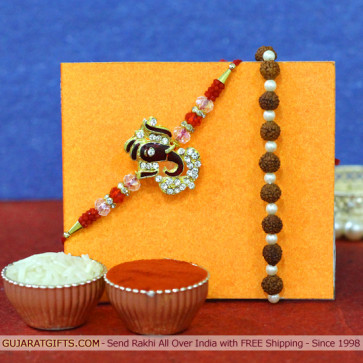 Set of 2 Rakhis - Bracelet with Auspicious Rakhi