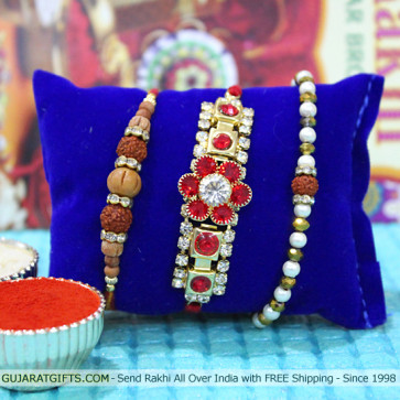 Set of 3 Rakhis - American Diamond with Rudraksha and Sandalwood Rakhis