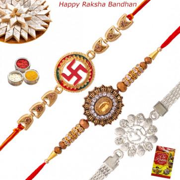 Set of 3 Rakhis - Silver Plated with Auspicious and American Diamond Rakhi