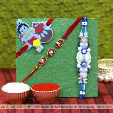 Set of 3 Rakhis - Fancy with Mauli and Kids Rakhi