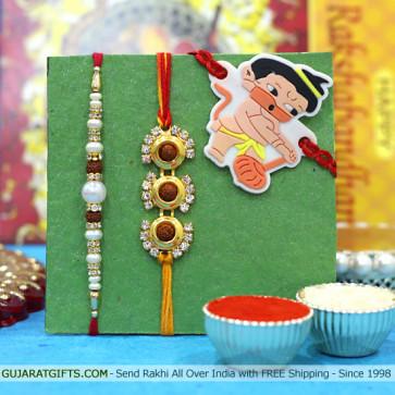 Set of 3 Rakhis - Rudraksha with Pearl and Kids Rakhi