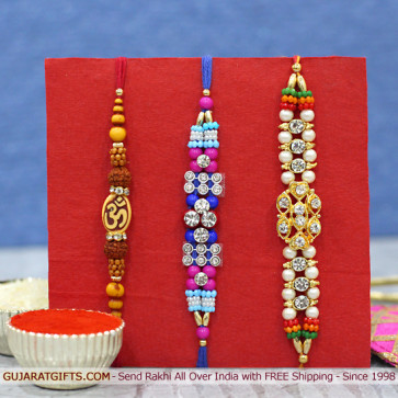 Set of 3 Rakhis - Fancy with Rudraksha and Mauli Rakhi