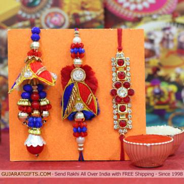 Set of 3 Rakhis - Bhaiya Bhabhi Rakhi with Diamond Rakhi