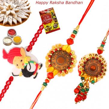 Set of 3 Rakhis - Bhaiya Bhabhi Rakhi Pair with Kids Rakhi