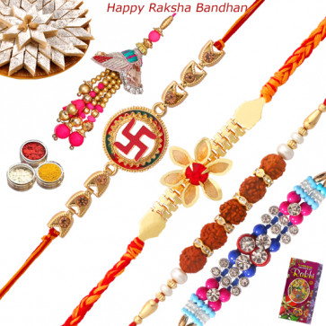 Set of 5 Rakhis - Mauli with Auspicious, Rudraksha, Fancy Rakhis and Lumba