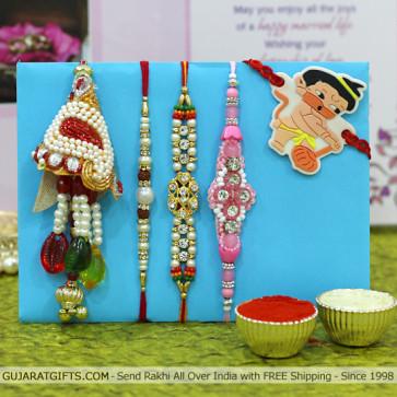 Set of 5 Rakhis - Lumba with Mauli, Pearl, Fancy and Kids Rakhi
