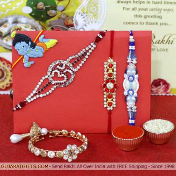 Set of 5 Rakhis - Auspicious with Fancy, American Diamond, Lumba and Kids Rakhi