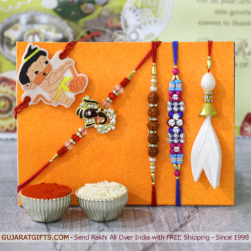 Set of 5 Rakhis - Lumba with Rudraksha, Auspicious, Fancy and Kids Rakhi