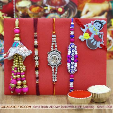 Set of 5 Rakhis - Pearl, Fancy, Mauli, Lumba and Kids Rakhi