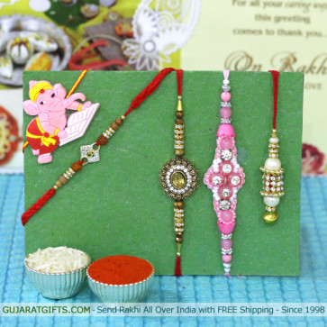 Set of 5 Rakhis - Lumba with American Diamond, Fancy, Sandalwood and Kids Rakhi