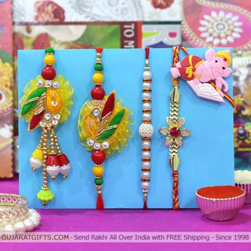 Set of 5 Rakhis - Bhaiya Bhabhi Rakhi Pair with Pearl, Mauli and Kids Rakhi