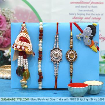 Set of 5 Rakhis - Bracelet with Lumba, Diamond, Mauli and Kids Rakhis