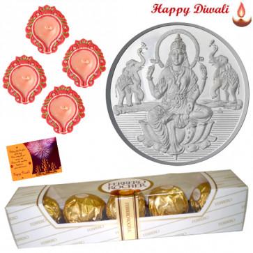 Silver Coin Hamper - Silver Laxmi Coin, Ferrero Rocher 5 pcs with 4 Diya