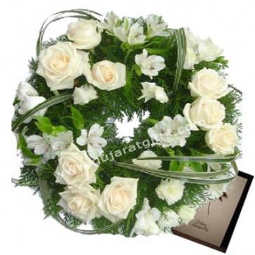 Emotional Wreath - 40 White Roses & Flowers Wreath + Card