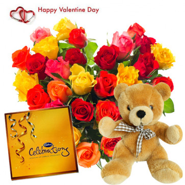 "Soft Heart - Heart Shape Arrangement 50 Mix Roses + Cadbury Celebration + Soft Toy 12"" + Card"