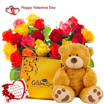 "Soft Heart - Heart Shape Arrangement 50 Mix Roses + Cadbury Celebration + Soft Toy 12"" + Card"