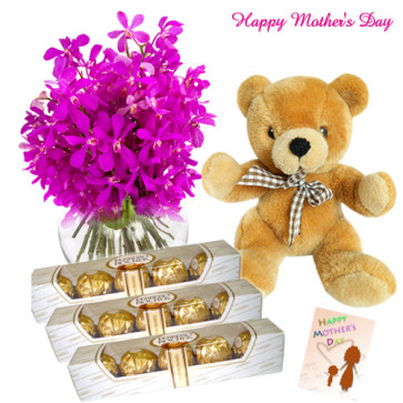 "Specially for You - 15 Orchids in Vase , 3 packs of Ferrero 5 Pcs, Teddy 8"" and Card"