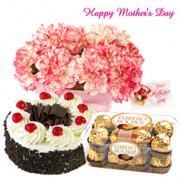 Surprising Mom - 15 Pink Carnations in Basket, Black Forest Cake 1/2 kg, Ferrero Rocher 16 pcs and Card