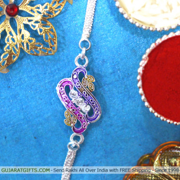 Multihued Silver Plated Rakhi