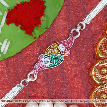 Colorful Silver Plated Rakhi