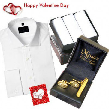 Exclusive Mens Hamper - Mens Formal Shirt + Golden Cufflinks Set + 3 Hankies Set + Card