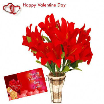 Artificial Lily Vase - 12 Artificial Lilies Vase + Valentine Greeting Card